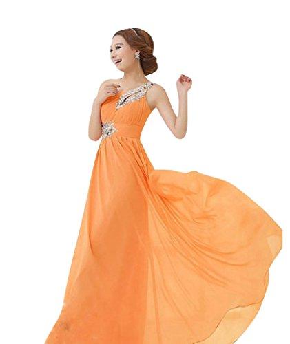 Missfox Donna Elegante One Shoulder Abito Da Sera Floor Length 4Xl Arancione
