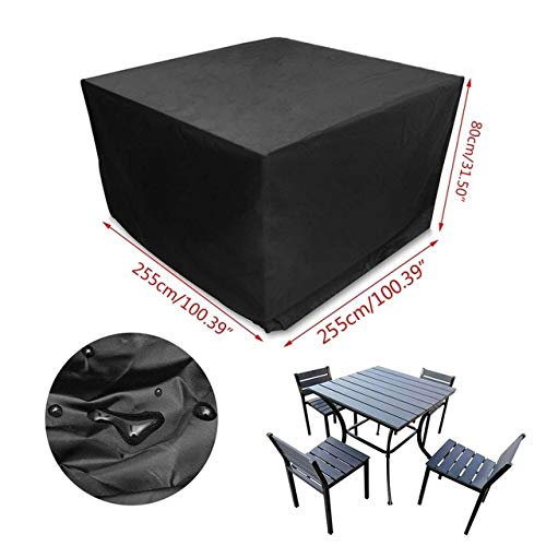 XiaoOu Couvertures de Meubles de Jardin 420D Heavy Duty Oxford Polyester Rectangulaire Patio Table Couvre Étanche Coupe-Vent et Ant Jardin Meubles Couvre Extérieur, L