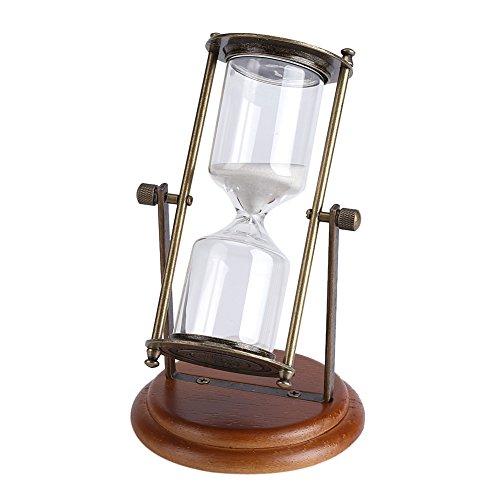 Sablier minuterie, 15 minutes en métal tournant verre sablier minuterie horloge sablier ornement de table pour la décoration intérieure, cadeau, minuterie