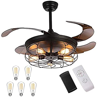 Industrial Retractable Ceiling Fans with Lights - [Update] with 5 LED Bulbs 4 Mode Timing with Remote Controller 42inch Vintage Ceiling Fans with 2 Down Rods