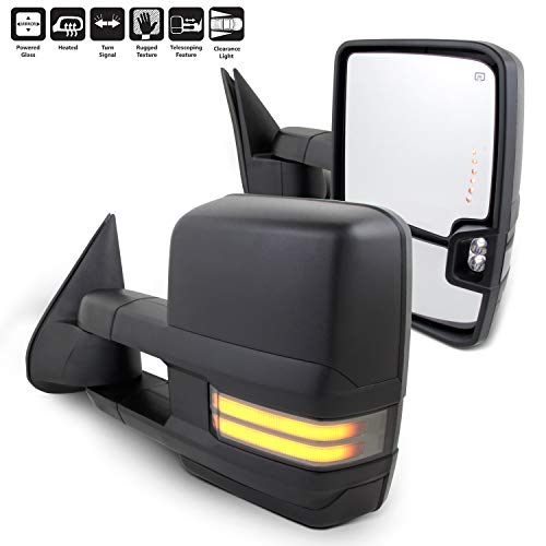 For 03-06 Silverado Sierra Pair of Powered + Heated Glass + Sequential Turn Signal Side Black Towing Mirrors