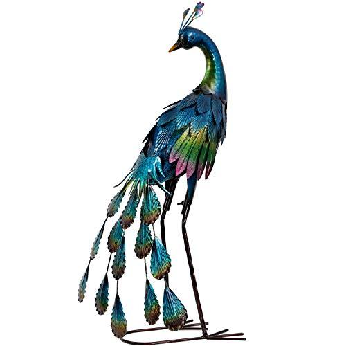 TERESA'S COLLECTIONS 57cm Metall Pfau Wetterfest Gartenfigur für Außen Stehende Pfau Gartendeko Figur Metallfigur Gartendekoration für Terrasse Balkon Hof Rasen