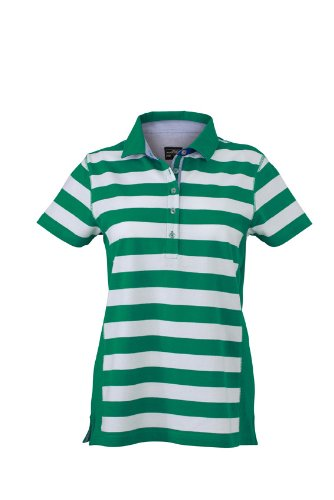 JAMES & NICHOLSON Polo Ladies Maritime Maternité, Vert (Irish-Green/White), (Taille Fabricant: Small) Femme