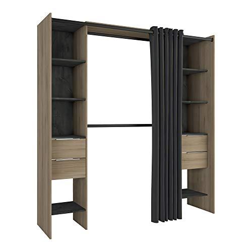 Miroytengo Vestidor Armario Abierto Dana Color kronberg y Sidewalk habitación Dormitorio Moderno 203x115-190x50cm