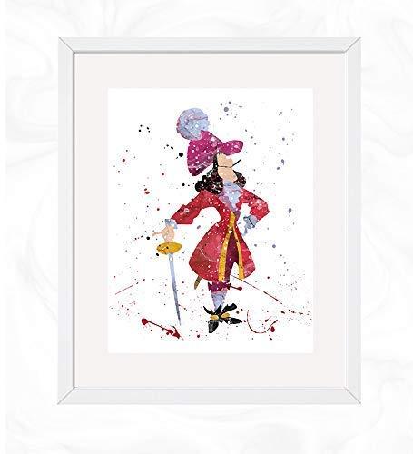 Captain Hook Prints, Peter Pan Disney Watercolor, Nursery Wall Poster, Holiday Gift, Kids and Children Artworks, Digital Illustration Art