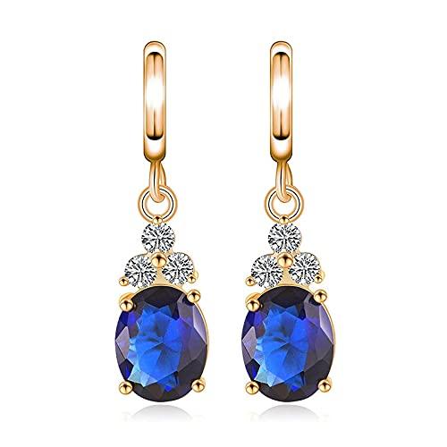 Pendientes colgantes de plata de ley 925, pendientes de circonita azul para mujer, exquisita joyería de oreja brillante, regalo deoro