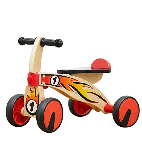 TOP BRIGHT Wooden Baby Trike for 1 Year Old Ride On Toys, Toddler Wooden Bike for One Year Old Tricycle, Kids Trike for 18 Months Childs with 4 Wheels