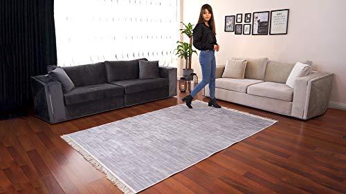 BESYILDIZ KALiTE HALI Designer Teppich Modern Wohnzimmer Bordüre Hochwertig Meliert Kurzflor Bedruckt Silber 80x150cm