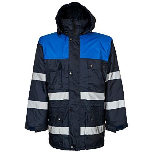 ART.MAS Arbeitsjacke Warnschutzjacke Winterjacke Regenjacke gefüttert Reflexstreifen Blau (FL-Win-NB) (XL)