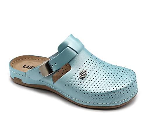 LEON 950 Zuecos Mules Zapatillas Zapatos de Cuero, Mujer, Menta, EU 38