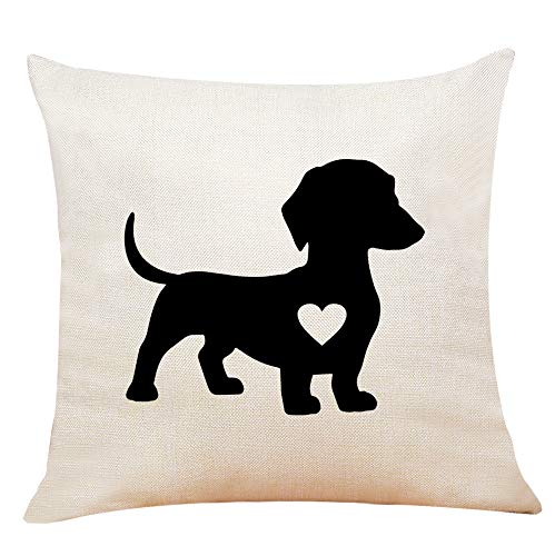 XUWELL Dachshund Dog with Heart Cotton Linen Throw Pillow Cover, Valentines Day Dachshund Gifts for Dog Lover, 18 x 18 Inch Cushion Case for Sofa Bed Home Decor