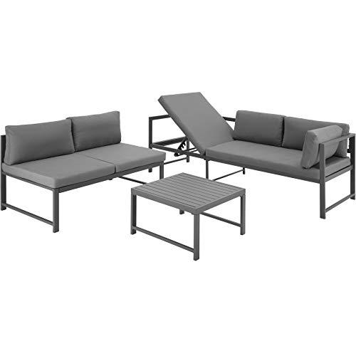 TecTake 403903 Aluminium Sitzgruppe für Garten, Balkon und Terrasse, wetterfest, 6-Fach verstellbare Rückenlehne, inkl. weiche Sitz- und Rückenkissen, grau - 2