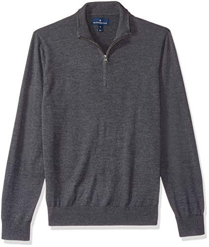 BUTTONED DOWN Men's Italian Merino Wool Lightweight Cashwool Quarter-Zip Sweater, Dark Grey, Medium