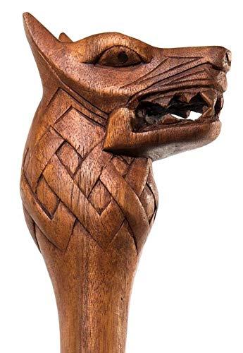 Windalf Viking Wanderstab Fenrir 180 cm Fenriswolf Wanderstock Handarbeit aus Holz