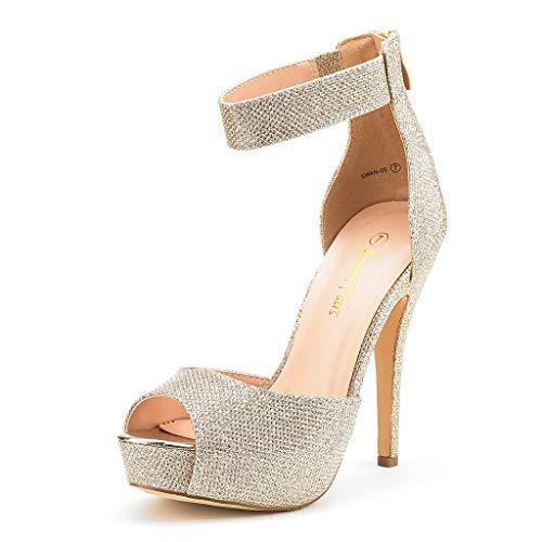 DREAM PAIRS SWAN-05 New Women's Ankle Strap Back Zipper Peep Toe High Heel Platform Pump Shoes,Gold Glitter,9 B(M) US