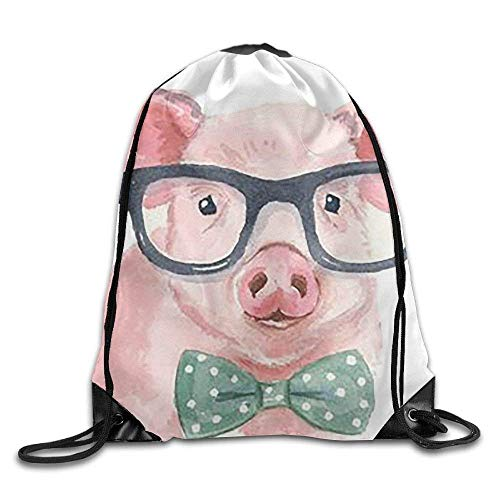 fengxutongxue A Pig with A Tie and Glasses Drawstring Backpack Travel Bag Gym Outdoor Sports Portable Drawstring Beam Port Backpack for Girl Boys Woman Female