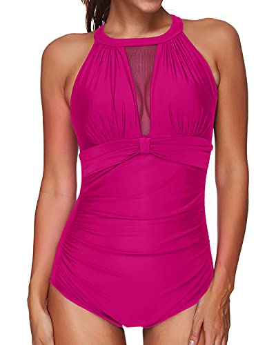 Tempt Me Women One Piece Swimsuit Pink High Neck Mesh Ruched Swimwear M