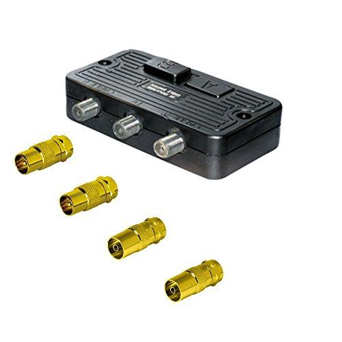Sat-Fox Universal Umschalter-Verteiler mit 4 Koax-Adaptern; für SAT, Kabel TV, DVB T2 HD und UKW; Neue Version: HDTV, 4K, UltraHD, 3D