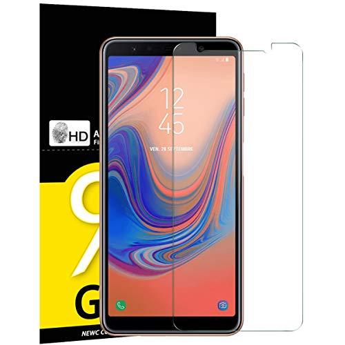 NEW'C 3 Stück, PanzerglasFolie Schutzfolie für Samsung A7 2018, Frei von Kratzern Fingabdrücken & Öl, 9H Festigkeit, HD Bildschirmschutzfolie, 0.33mm Ultra-klar, Ultrawiderstandsfähig