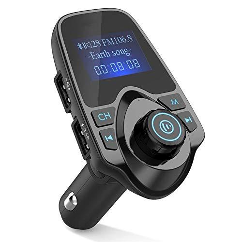 BEESCLOVER Auto Mains Libres Bluetooth sans Fil de Voiture Audio Aux récepteur FM Adaptateur Chargeur USB