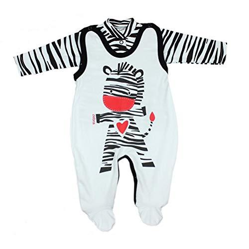 TupTam Baby Unisex Strampler-Set mit Aufdruck Spruch 2-TLG, Farbe: Zebra, Größe: 62