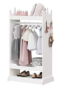 UTEX Kid's See and Store Dress-up Center Costume Closet for Kids Open Hanging Armoire Closet,Pretend Storage Closet for Kids,Costume Storage Dresser  White