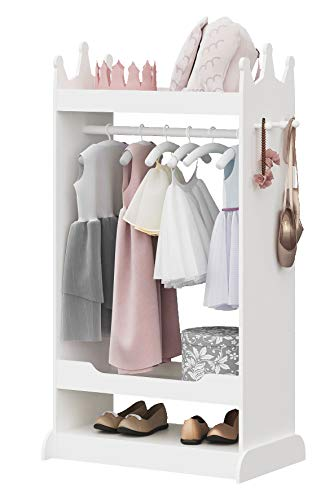 UTEX Kid's See and Store Dress-up Center, Costume Closet for Kids, Open Hanging Armoire Closet,Pretend Storage Closet for Kids,Costume Storage Dresser (White)