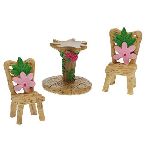 Sharplace Miniature en Résine Artificielle Bonsaï Paysagère Miniature Décor Jardin Maison - 1x Set Table