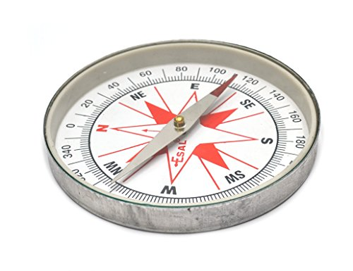 "Plotting Compass, Glass Face, Aluminum Casing, 4"" Diameter, Eisco Labs"