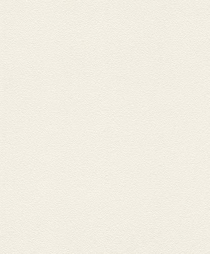 rasch Tapete 489507 – Einfarbige Vliestapete in Weiß mit körniger Struktur – 10,05m x 53cm (L x B)