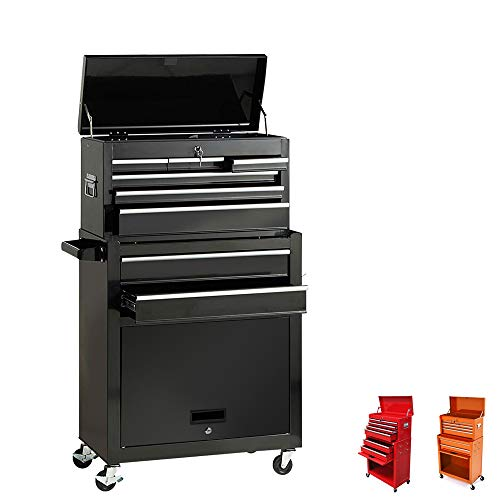 Portable Tool Storage Box 2 in 1 Rolling Tool Chest Removable Tool Storage Cabinet with Sliding Drawers Keyed Locking System Toolbox Organizer,Black