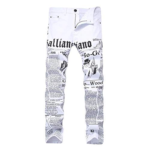 Vaqueros para Jeans Pantalones Vaqueros Elásticos para Hombre A La Moda con Estampado De Letras Blancas,...