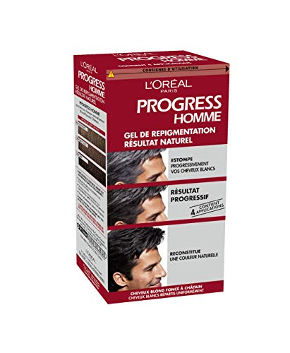 L'Oréal Paris Progress Homme, Gel de Repigmentation Naturelle, Coloration des Cheveux Blancs, 4...
