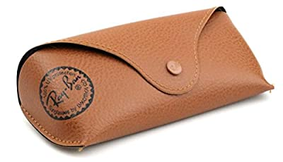 Ray Ban Original Brown Leather Style Medium Case - Fits most Rayban Sunglasses, RB3025, RB2132, Rayban Aviator, Rayban Wayfarer