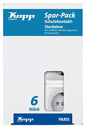 Kopp Paris Steckdose Spar-Pack 6X 1-Fach für den Haushalt,920720013, 250 V, silber