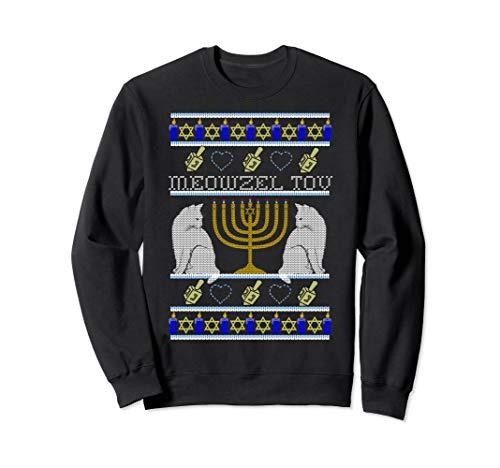 MEOWZEL TOV Cat Mazel Ugly Hanukkah Sweater Meme Cats Sweatshirt