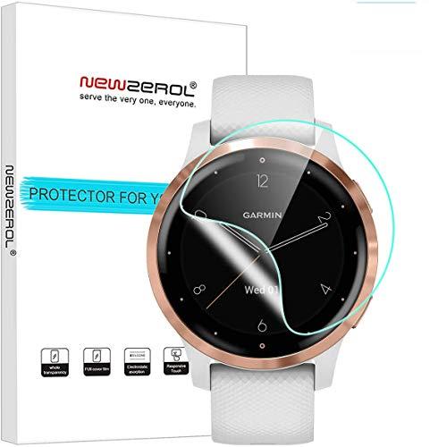 NEWZEROL (4 Stücke Kompatibel für Garmin Vivoactive 4S Bildschirmschutzfolie TPU Hochauflösende, Kratzfeste Anti-Fingerabdruck-Schutzfolie für Garmin Vivoactive 4S