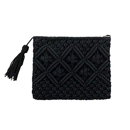 Sac À Main Mode Haute Qualité Coton Corde Gland Sac Tissé À La Main Sac De Paille Sacs À Main Sac De Plage Dames Enveloppe Embrayage Noir