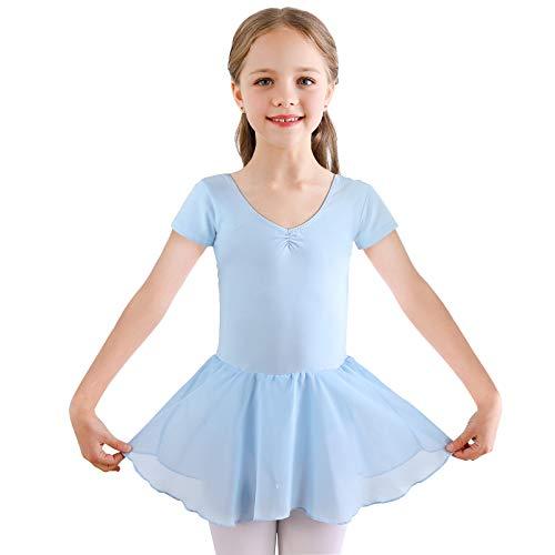 Bezioner Vestido de Ballet Maillot de Danza Gimnasia Leotardo Algodón Body Clásico para Niña (140 (130-140cm,10-11 años), Azul)