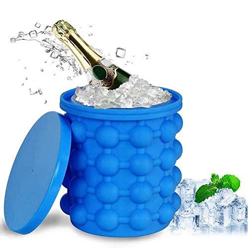 BEILENING Eiskübel,Silikon Eiseimer mit Deckel Platzsparende Genie Eiswürfelbereiter Eiswürfel GefäßKühler für Whiskey,Cocktail und Jedes Getränk BBQ, EiswüRfelbehäLter BPA-Frei,13x14cm