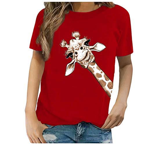 Dicomi Womens Fashion T-Shirt Sunflower Printed Short Sleeve Loose Tops Blouse
