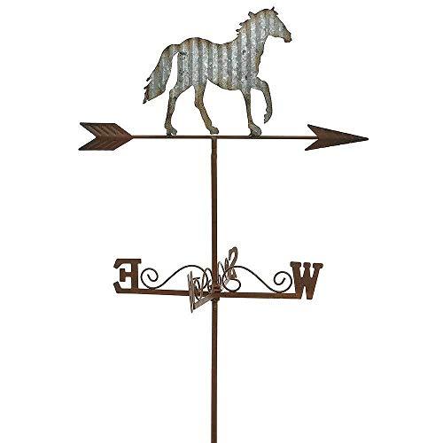 zeitzone Gartenstecker Pferd Wetterfahne Eisen Zink Windspiel Gartenstab 112cm