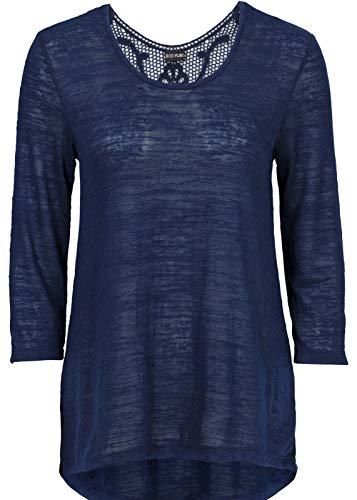 Damen Shirt mit Häkeleinsatz, 305069 in Dunkelblau 36/38