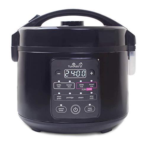 Yum Asia Kumo YumCarb Reiskocher mit Keramikschale und fortschrittlicher Fuzzy-Logik, 5 Reiskochfunktionen, 3 Multikocherfunktionen, (5,5 Tassen, 1 Liter) 220-240V UK/EU (Dunkler Edelstahl)