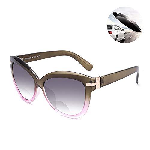 UV400 Lens Zonnebril En Een Leesbril Dubbele Functie Bifocale Kattenogen Full Frame Presbyopie Verziendheid Reader Met Vergrootglas Kracht,Green,+1.50