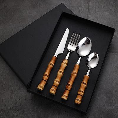 JOK Tableta de asa de bambú Vajilla Occidental de bistec para Pastel Postre Cuchara de Caja de Regalo de Acero Inoxidable