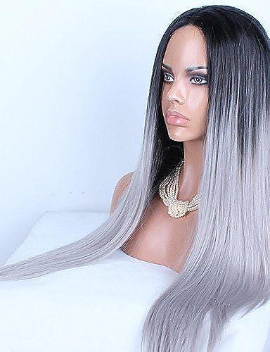 WIGSTYLE Perruques mode cheveux longue ligne droite de mélange populaire européen et américain de couleur noir et blanc