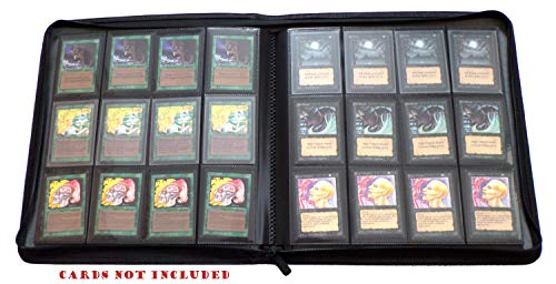 docsmagic.de Premium Pro-Player 12-Pocket Playset Zip-Album Black - 480 Card Binder - MTG - PKM - YGO - Reissverschluss Schwarz