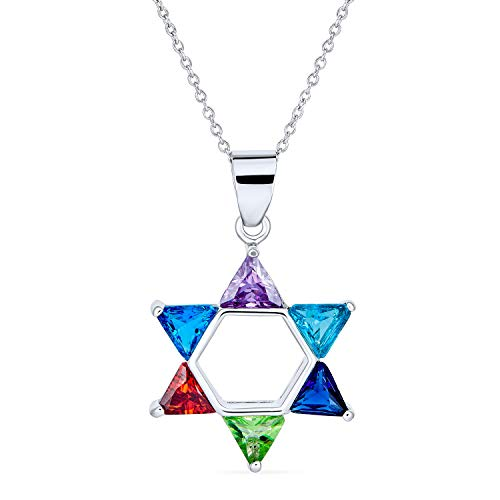 Multi Color Cubic Zirconia AAA CZ Traditional Religious Magen Judaic Jewish Hanukkah Star Of David Pendant Necklace For Women Teen Bat Mitzvah 925 Sterling Silver