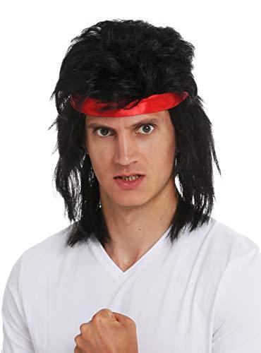 WIG ME UP - SARL001-P103 Perücke Stirnband Karneval Herren lang schwarz Vokuhila 80s Action-Star Kämpfer Kung-Fu